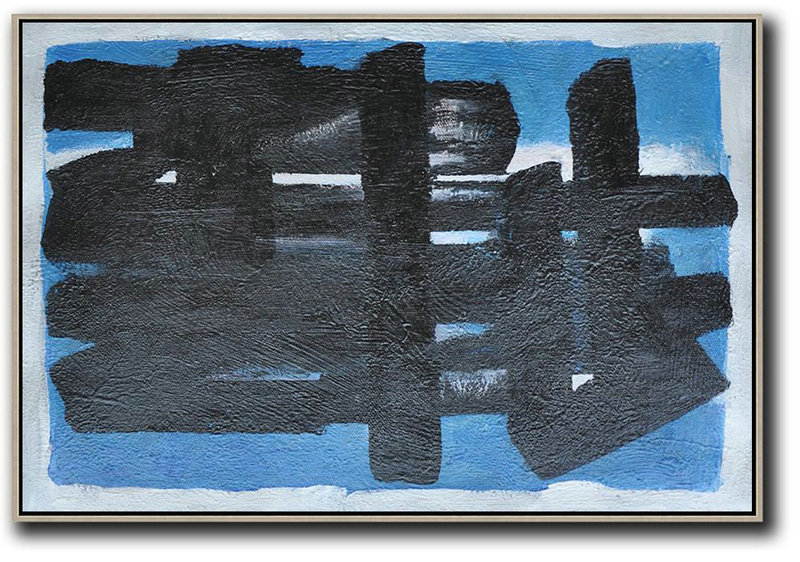 Hand-Painted Oversized Horizontal Minimal Painting On Canvas,Abstract Painting On Canvas #H2D4