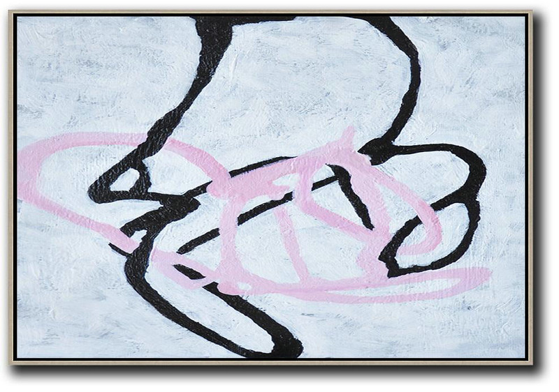 Hand-Painted Oversized Horizontal Minimal Art On Canvas,Large Wall Canvas #U2U8