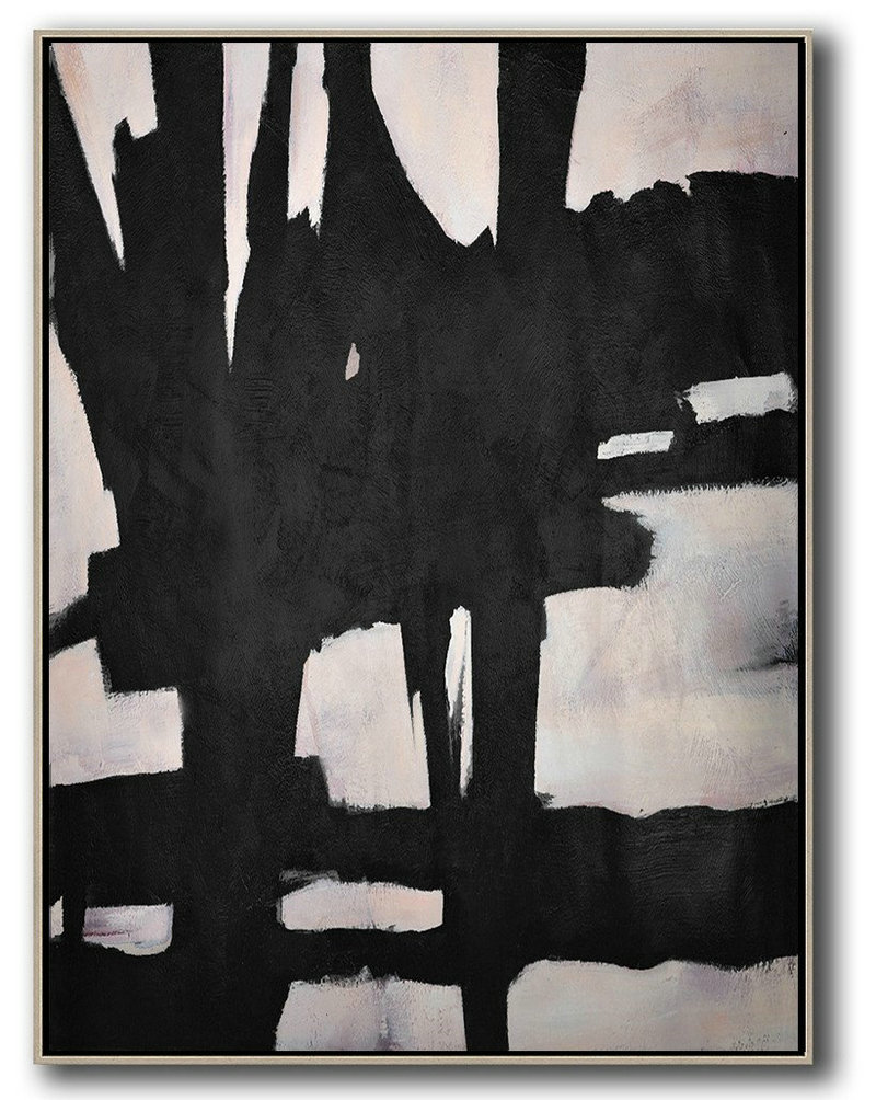 Hand-Painted Black And White Minimal Painting On Canvas,Modern Wall Decor #Z4X1