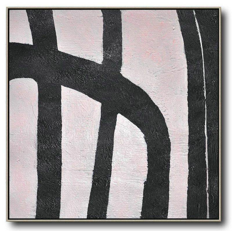 Hand-Painted Oversized Minimal Black And White Painting,Hand Paint Abstract Painting #S1E9