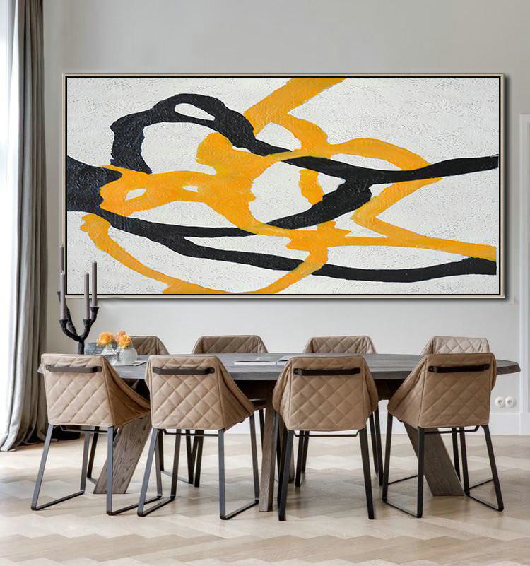 Hand-Painted Oversized Panoramic Minimal Art On Canvas,Large Abstract Art Handmade Acrylic Painting #A9W2