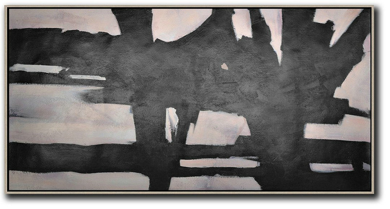 Hand-Painted Oversized Horizontal Minimal Art On Canvas,Original Abstract Painting Canvas Art #K3C9