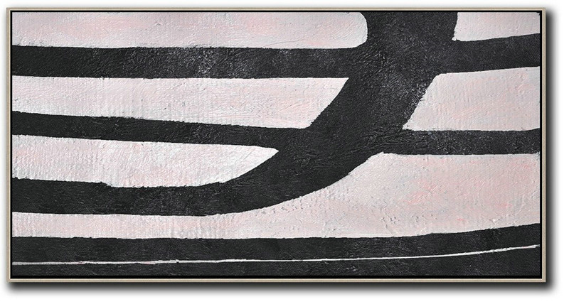 Hand-Painted Oversized Horizontal Minimal Art On Canvas,Modern Art Abstract Painting #O5I2