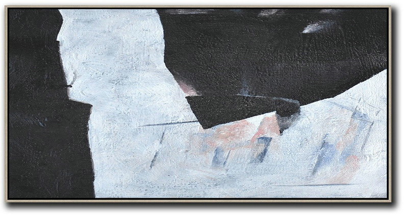Hand-Painted Oversized Panoramic Minimal Art On Canvas,Original Art Acrylic Painting #K6G9