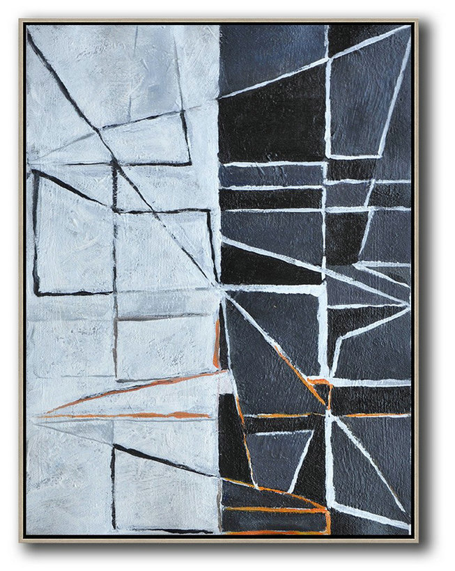Vertical Minimal Art,Extra Large Canvas Painting #R7N8