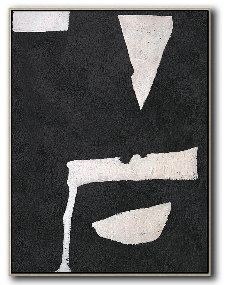 Hand-Painted Black And White Minimal Painting On Canvas,Large Canvas Art #O7N5