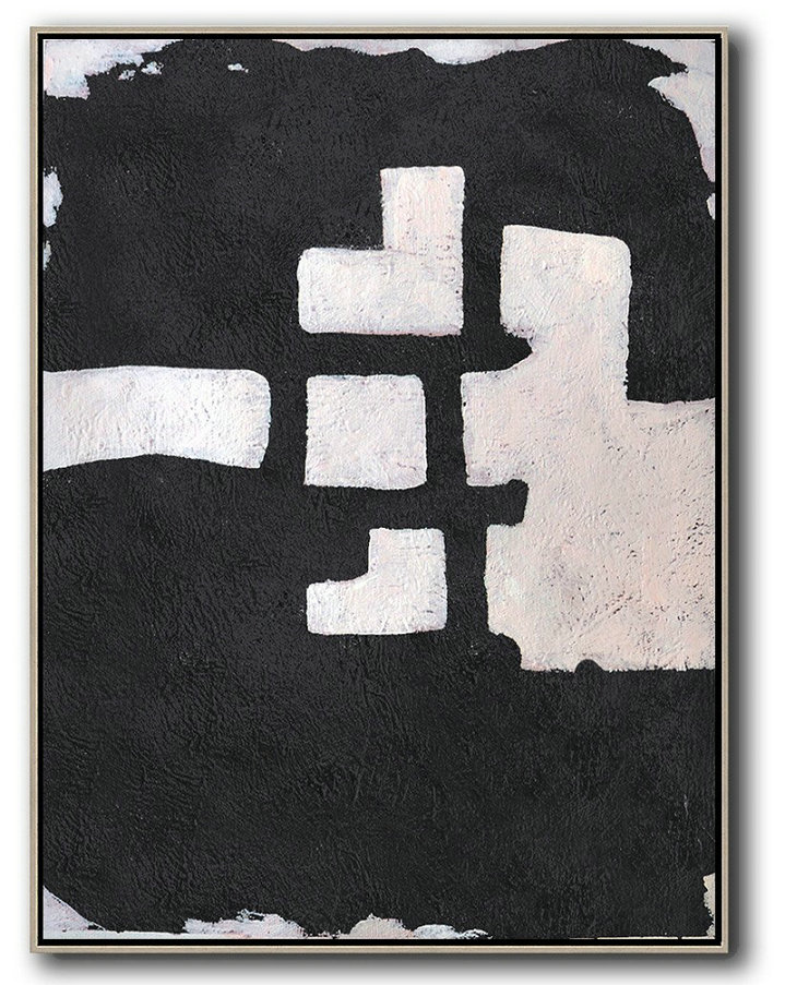 Hand-Painted Black And White Minimal Painting On Canvas,Hand Painted Acrylic Painting #D4X8
