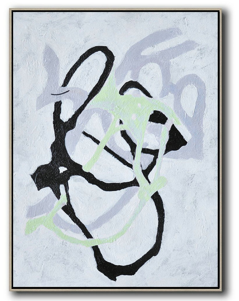 Hand-Painted Black And White Minimal Painting On Canvas,Hand Paint Large Art #W4U8