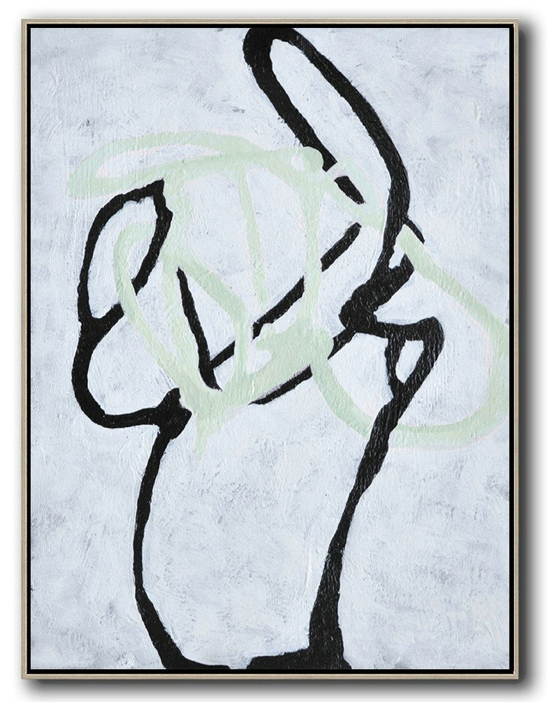 Hand-Painted Black And White Minimal Painting On Canvas,Contemporary Art Canvas Painting #D2M8