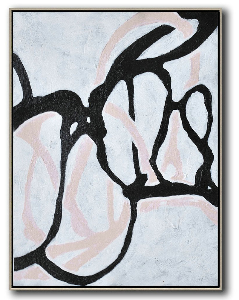 Hand-Painted Black And White Minimal Painting On Canvas,Oversized Canvas Art #O9M2