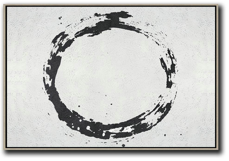 Oversized Horizontal Minimalist Circle Art On Canvas, Black And White Minimalist Painting,Large Abstract Wall Art #L9C7