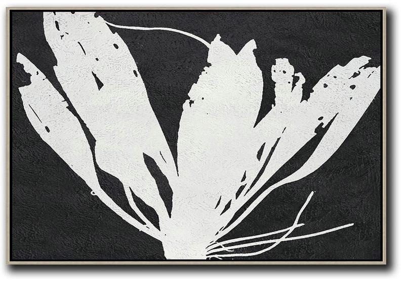 Oversized Horizontal Minimal Art On Canvas Black And White Minimalist Flower Modern Abstract