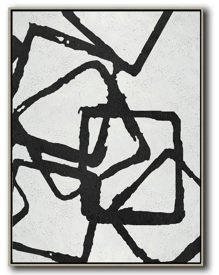 Black And White Minimalist Painting On Canvas,Acrylic Minimailist Painting #H2X7
