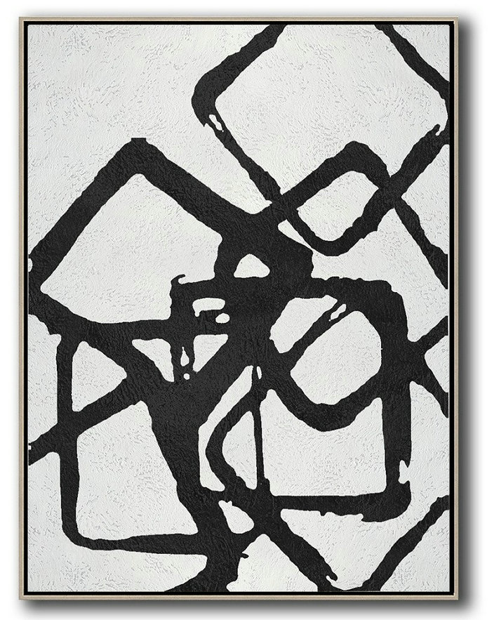 Black And White Geometric Art Minimal Painting On Canvas,Original Art Acrylic Painting #N0Q6