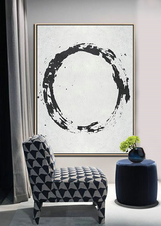 Geometric Art Black And White Minimal Painting On Canvas,Oversized Art #F9L2 - Click Image to Close