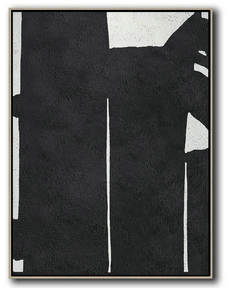 Black And White Minimal Painting On Canvas,Original Art #L2X6