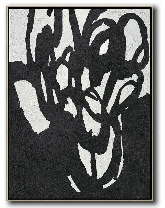 Black And White Minimalist Painting On Canvas,Acrylic Painting On Canvas #H6Y5