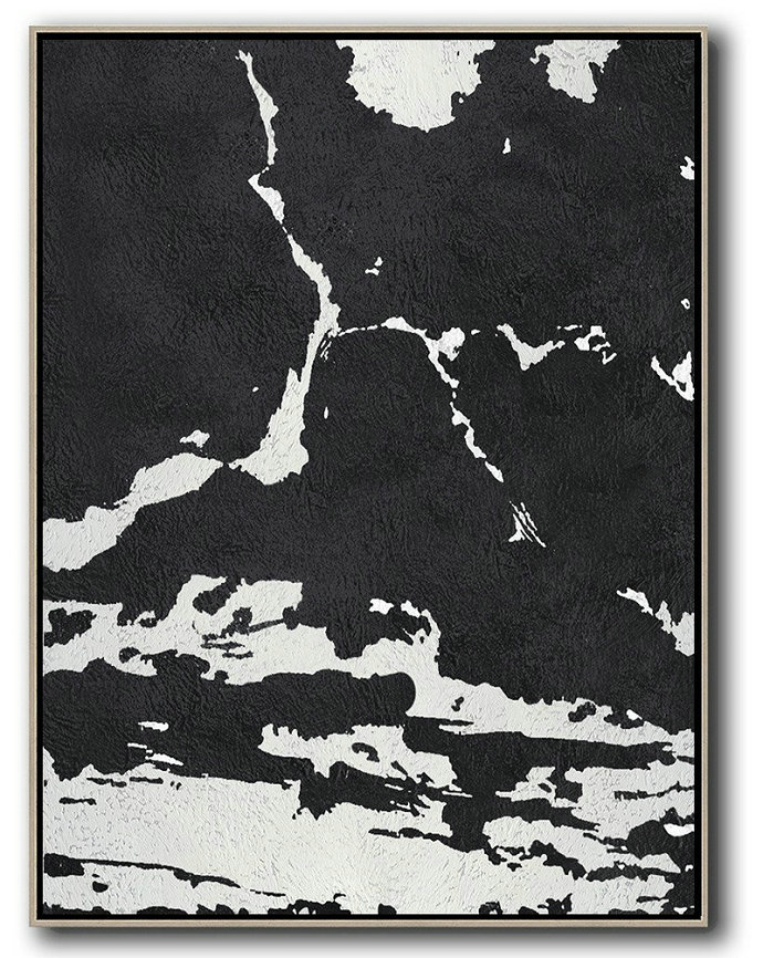Black And White Minimalist Painting On Canvas,Large Abstract Wall Art #R4Q1