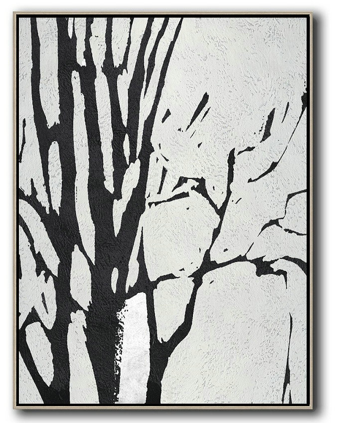 Black And White Minimalist Painting On Canvas,Large Living Room Wall Decor #I4I9