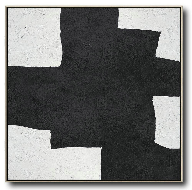 Oversized Minimal Black And White Painting,Large Wall Art Home Decor #G6X5