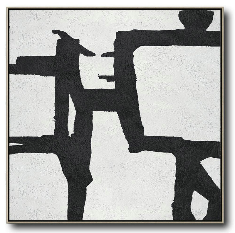 Oversized Minimal Black And White Painting,Living Room Wall Art #S2A5
