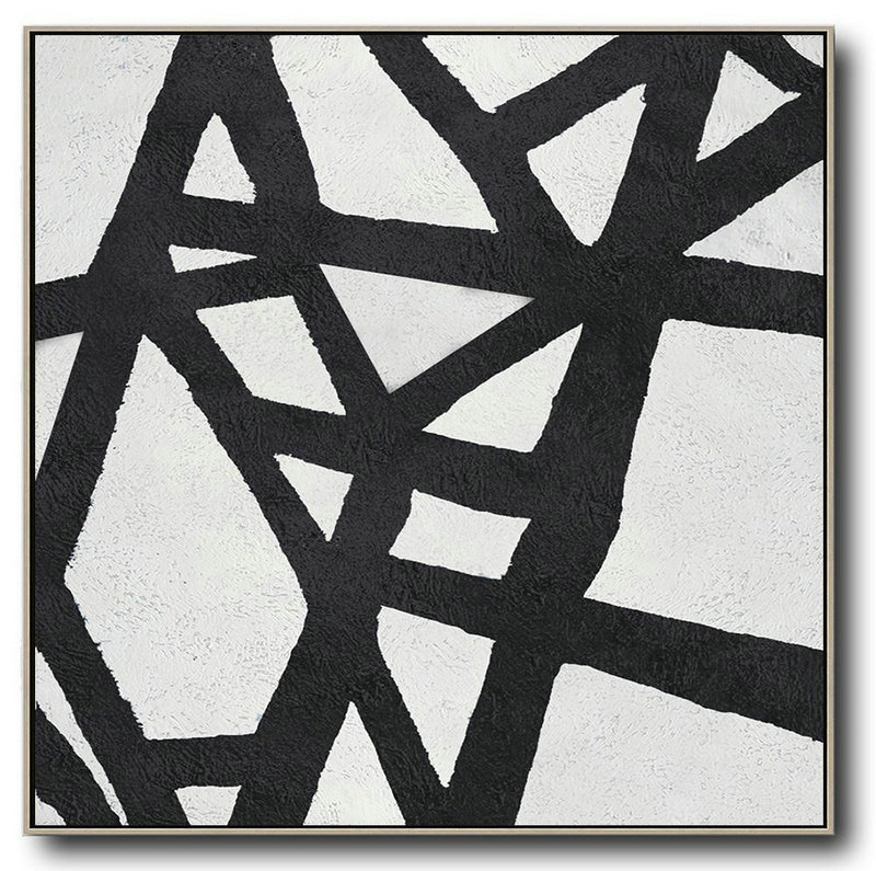 Oversized Minimal Black And White Painting,Modern Abstract Wall Art #S7G0