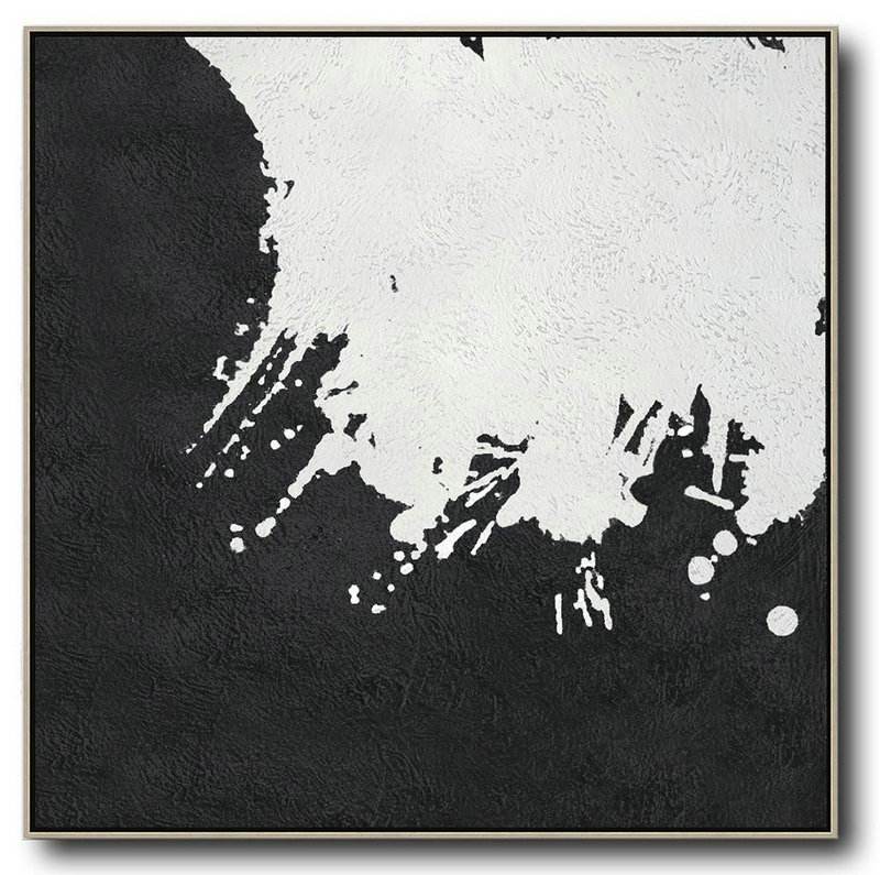 Oversized Minimal Black And White Painting,Textured Painting Canvas Art #P7Z2