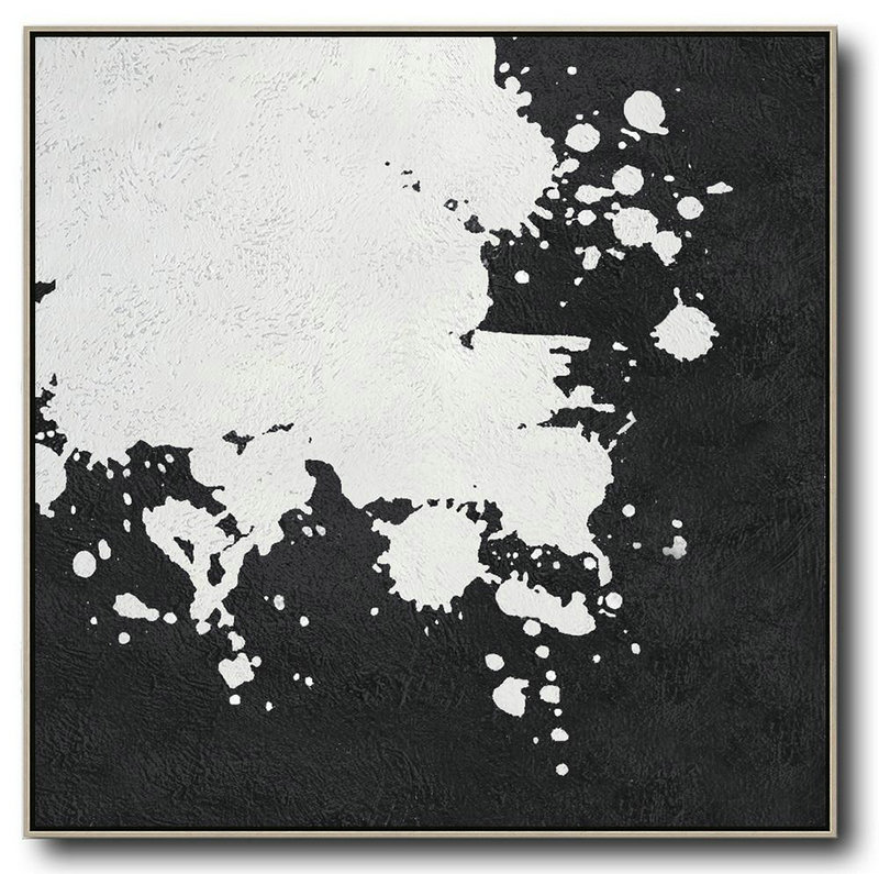 Oversized Minimal Black And White Painting,Modern Wall Decor #R7N4