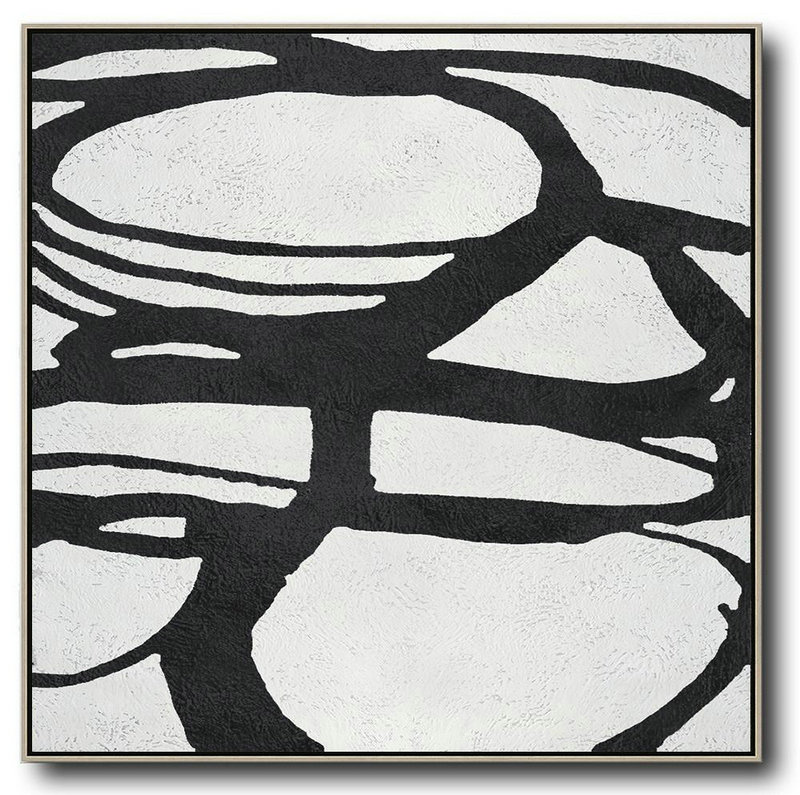 Oversized Minimal Black And White Painting,Large Canvas Art #L0O7