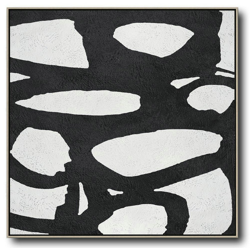 Oversized Minimal Black And White Painting,Hand Painted Acrylic Painting #A3U7