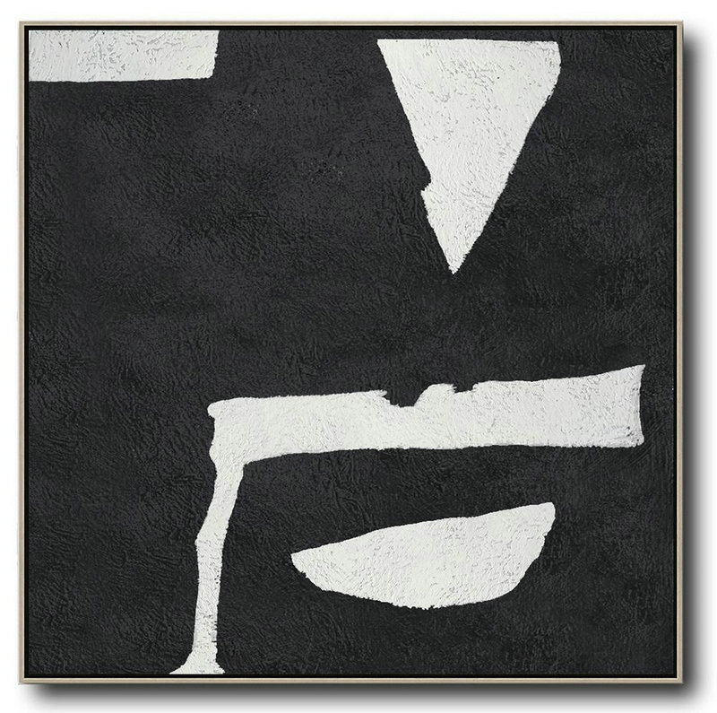 Oversized Minimal Black And White Painting,Abstract Oil Painting #M8A1