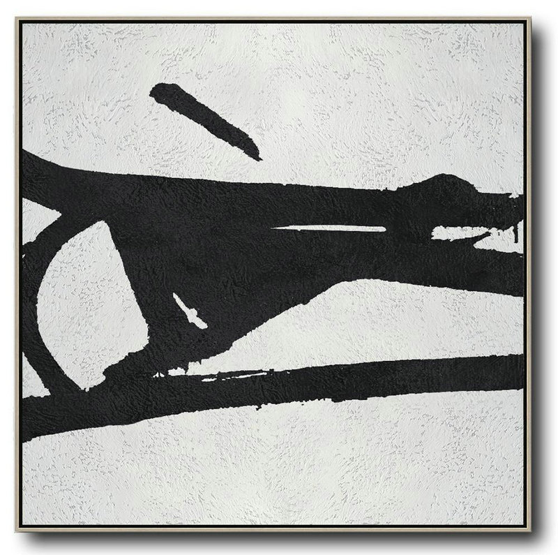 Oversized Minimal Black And White Painting,Wall Art Painting #W8A1