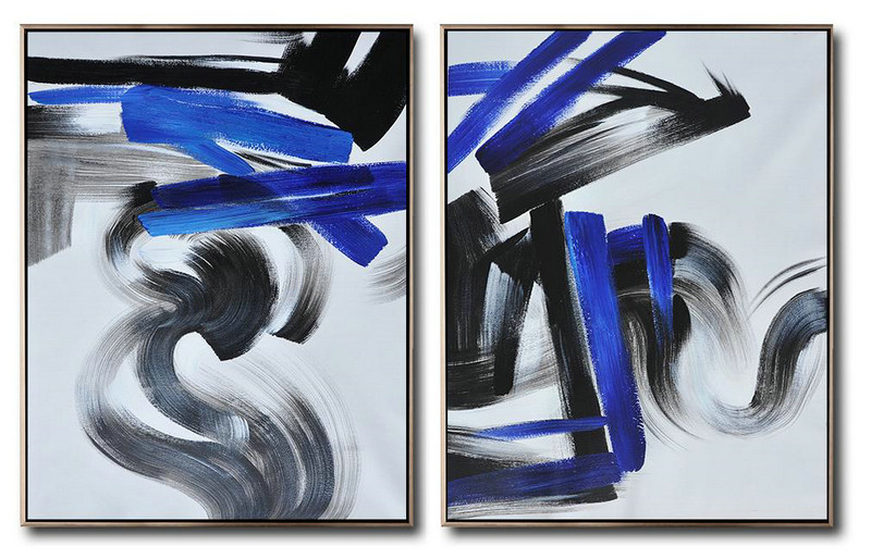 Large Set Of 2 Blue Minimalist Painting On Canvas,Hand-Painted Contemporary Art #U7R5