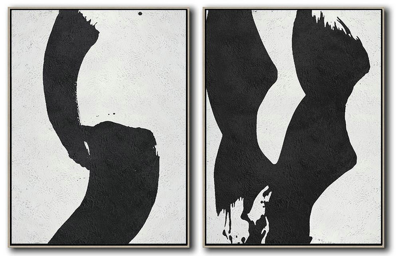 Set Of 2 Minimal Painting On Canvas,Contemporary Wall Art #D0E1