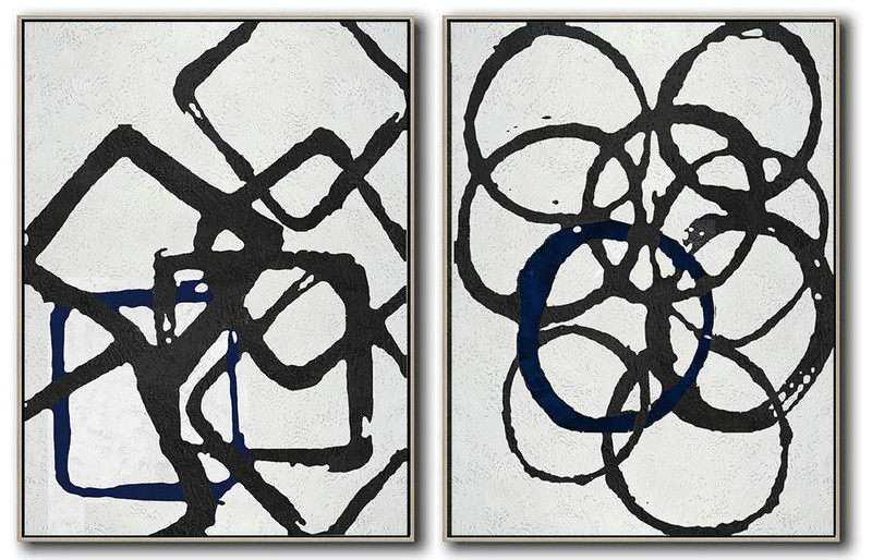 Set Of 2 Minimal Painting On Canvas,Modern Art Abstract Painting #B6N7