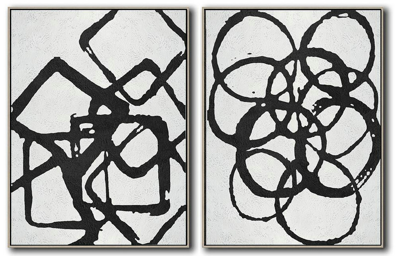 Set Of 2 Minimal Painting On Canvas,Modern Paintings #S5L8