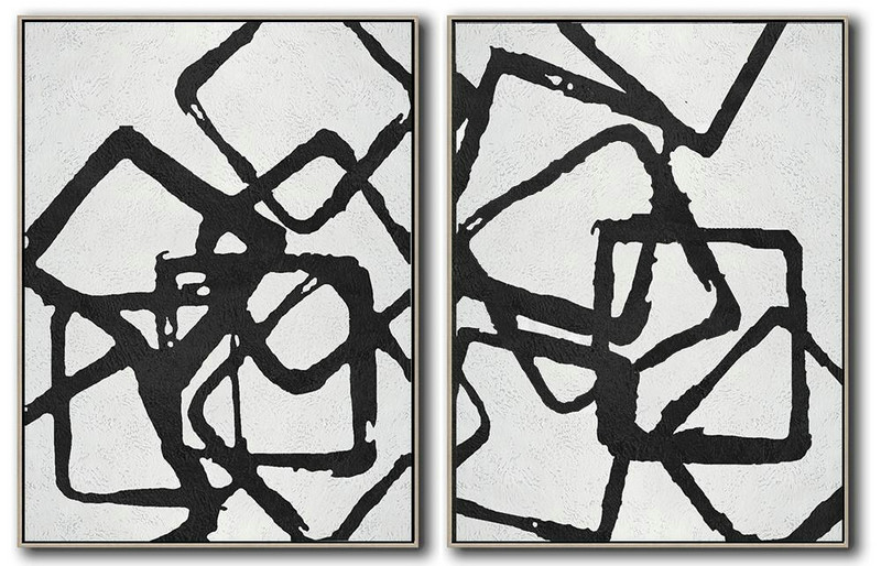 Set Of 2 Minimal Painting On Canvas,Canvas Wall Art #L1D4