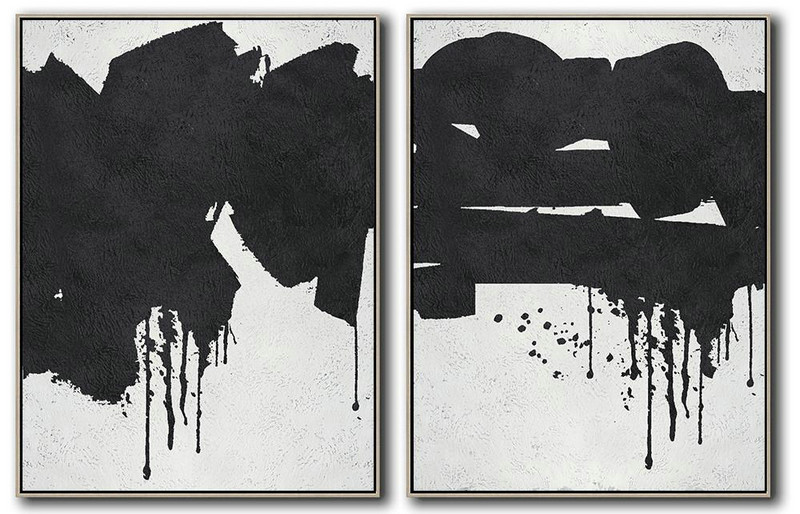 Set Of 2 Minimal Painting On Canvas,Large Abstract Wall Art #C4S0