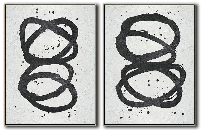 Set Of 2 Minimal Painting On Canvas,Large Living Room Wall Decor #J2W4
