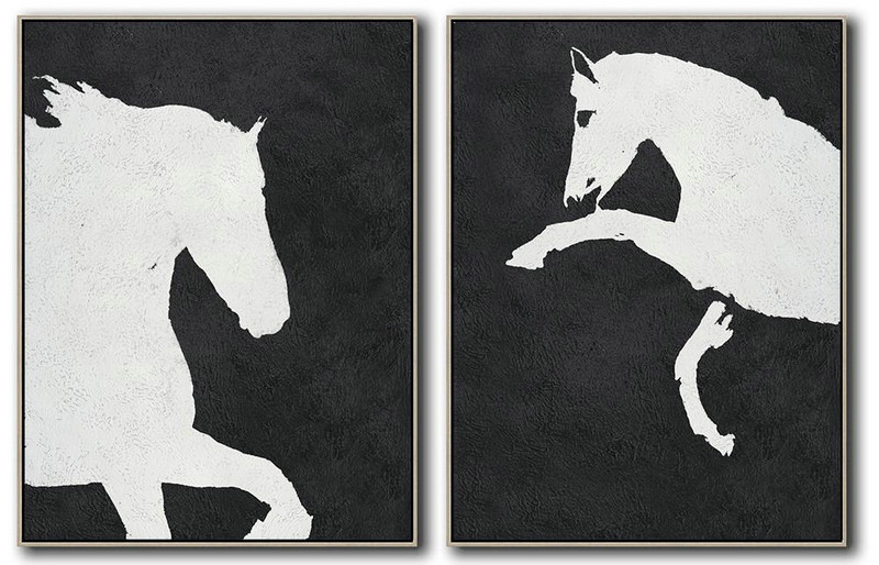 Set Of 2 Minimal Painting On Canvas,Home Canvas Wall Art #E5N8