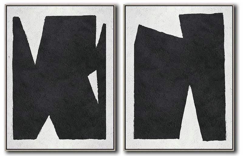 Set Of 2 Minimal Painting On Canvas,Acrylic Painting On Canvas #W7E5