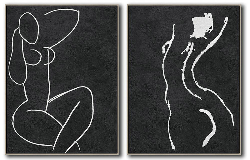 Set Of 2 Minimal Painting On Canvas,Bedroom Wall Decor #T2E9
