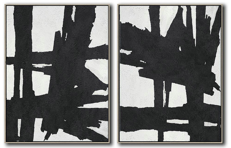 Set Of 2 Minimal Painting On Canvas,Big Canvas Painting #Z0G2