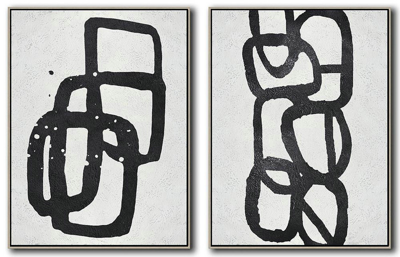 Set Of 2 Minimal Painting On Canvas,Contemporary Artwork #T8O1