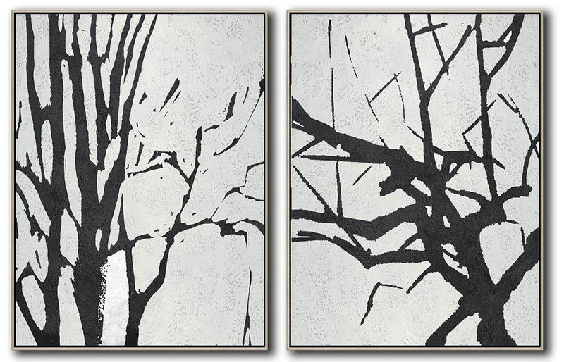 Set Of 2 Minimal Painting On Canvas,Original Abstract Painting Canvas Art #S4I1