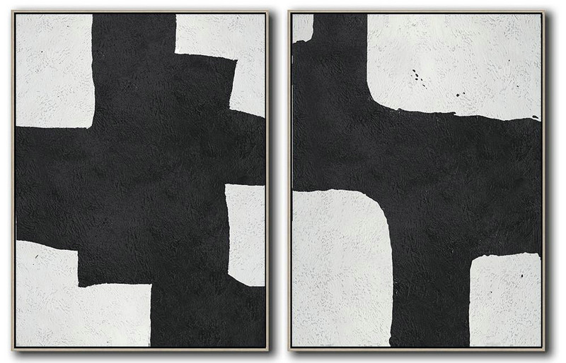 Set Of 2 Minimal Painting On Canvas,Modern Painting Abstract #O9K8