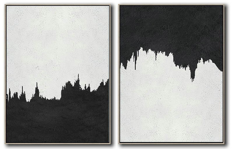 Set Of 2 Minimal Painting On Canvas,Abstract Artwork Online #U4W0