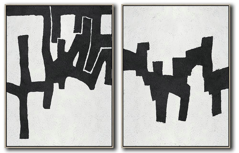 Set Of 2 Minimal Painting On Canvas,Original Abstract Oil Paintings #P0E0
