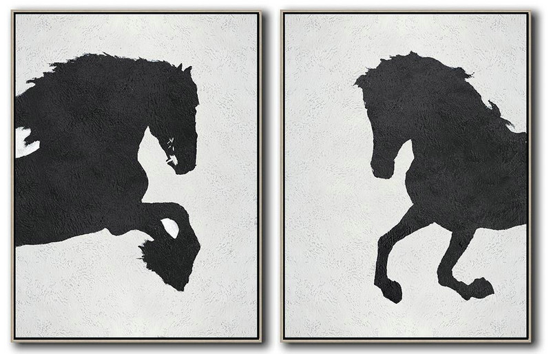 Set Of 2 Minimal Painting On Canvas,Hand Paint Large Clean Modern Art #Q8W7