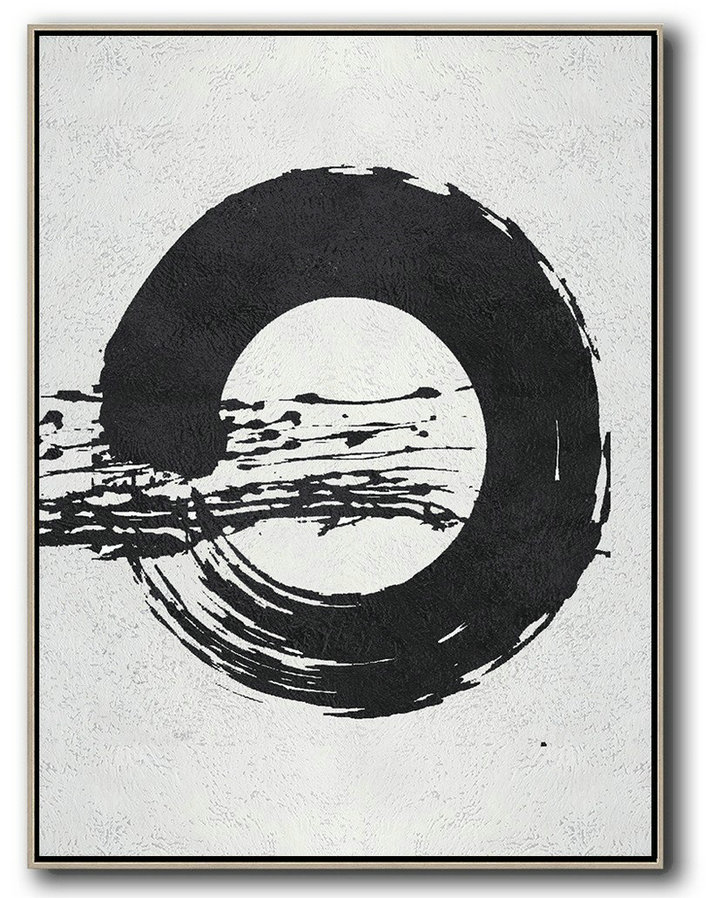 Black And White Minimal Painting On Canvas,Home Canvas Wall Art #R5U3